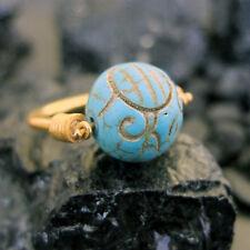 Handmade Designer Designer Carved Turquoise Ring 22K Gold Over Sterling Silver
