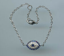 Sparkling CZ & Lab Created Sapphire Evil Eye with Delicate Chain Bracelet