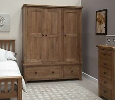 Tilson solid oak bedroom furniture large triple wardrobe with drawers