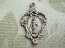 Vintage Sterling Virgin Mary Religious Miraculous Medal Beautiful Floral Cut Out