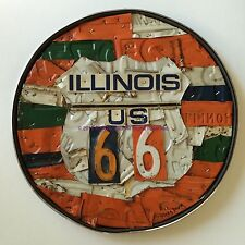 Route 66 Original Art Wall Hanging Metal Old Car License Plate IL Man Cave