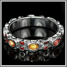 GENUINE SONGEA MULTI COLOR SAPPHIRE & CZ STERLING 925 SILVER RING SIZE 9-US,S-UK