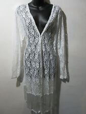 Long Lace Vest Fits L XL 1X Bolero White Fringe Stretchy Sheer Jacket NWT G007