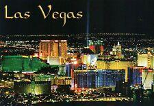 Aerial View of Las Vegas at Night, Nevada, Casinos on Strip, Luxor etc. Postcard