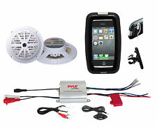 Pyle Bike Bicycle ATV Outdoor 2Channel iPod Input Amplifier,White Round Speakers