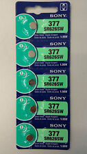 5 SONY 377 SR626SW Silver Oxide Watch Battery Made in Japan EXP. DATE 02-2019