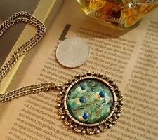 Retro Vintage Peacock Feather Carved Stone Pendant Chain Necklace Jewelry Women