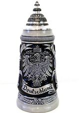 GERMAN BEER STEIN, 0,25 l relief german eagle crests with lid NEW