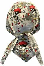 Pirate's Warning Bandanna Du Do Doo Rag  Skull Cap Head Wrap Biker Hat New