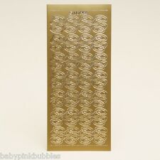 2 Sheets - Wedding Rings  Peel off stickers - GOLD