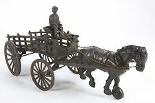 Cast Iron Toy Horse Drawn Hay Wagon With Driver Older Reproduction Rustic Finish
