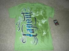 TAPOUT Men's Collage Fight Short Sleeve T-Shirt Green w/Metallic Blue Sz MED NWT