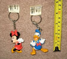Lot / 2 New Disney Applause Mickey Unlimited Keychain Minnie & Donald