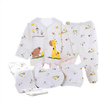 5pcs Newborn 0~6M Baby Cotton Cloth Shirt Top +Pants +Hat +Bib Suit Outfit Set B