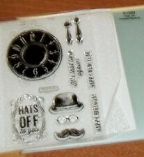 CTMH C1593  HATS OFF ~ CLOCK, It's that time again!, Eye glasses, Mustache