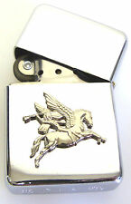 PEGASUS SILVER CUT OUT AIRBORNE DIVISION  WINDPROOF CHROME PLATED LIGHTER PARA