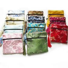 10PCS Mix Colors Chinese Zipper Coin Tassel Silk Square Jewelry Bags Pouches CMC