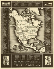"""Vintage North America Map of Native Indian Tribes CANVAS PRINT  24""""X16"""""""