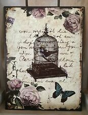 Metal Wall Plaque Shabby French Vintage Chic Tin Sign Birdcage Rose Xmas Gift