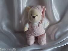 Doudou Winnie, salopette et bonnet rose, broderie lapin, Disney Store