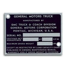 1947 1948 1949 1950 1951 1952 OR 1953 1954 1955 GMC Truck  ID Plate (New)