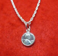 24 INCH STERLING SILVER PLATED 1.6MM LOOSE ROPE NECKLACE W/MINI LUCKY PENNY