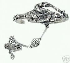 Celtic Snake Slave Bracelet & Ring - Lead Free Pewter - Adjustable SCA Garb fnt