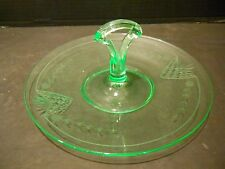 Depression Green Glass Handled Sandwich Tidbit Tray Etched Design
