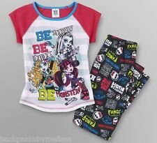 MONSTER High Pjs 7/8 NeW Pajamas Shirt Pants Draculaura Frankie & Lagoona Blue