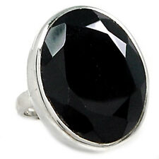 Faceted Black Onyx 925 Sterling Silver Ring Jewelry s.8 BOFR474