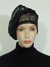 Fearlessly stylish lagenlook black broiderie anglaise lace vintage cocktail hat