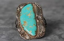 Vintage Native American Large Sterling Silver Turquoise Cuff Bangle Bracelet