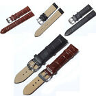 Unisex Soft Genuine Leather Strap Steel Buckle Wrist Watch Band Strap 12mm-24mm