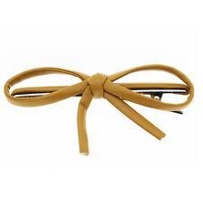 Brown Leather Bow Knot Slide Hair Decoration Clip Women Accessories HA289
