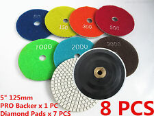 "5""in 125mm Diamond Polishing Pads Backing Pad Holder Set Granite Marble Concrete"