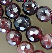 5mm Faceted Natural Red Garnet Round Beads 16""