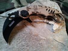 Tac Force Desert Camo KARAMBIT CLAW Finger Hole Folding Assist Knife 620DM
