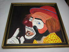 Emmett Kelly Jr Clown Original Art Wall Painting Old Vintage Large Square Circus