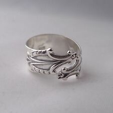Stunning Handmade Antique Solid Sterling Silver Sugar Tong Spoon Ring Unique