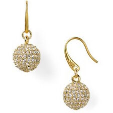 MICHAEL KORS Gold-Tone Pave Crystal Ball Drop Earrings NEW