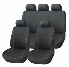SSANGYONG ACTYON BLACK SEAT COVERS WITH GREY PIPING