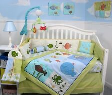 CRIB BEDDING SET Fish Ocean Life Theme Unisex Infant Baby Nursery 13 Piece NEW
