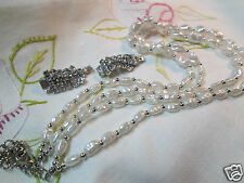 Vintage Rhinestone Crystal Silver-tone Earring Pearl Bead Necklace Jewelry Lot