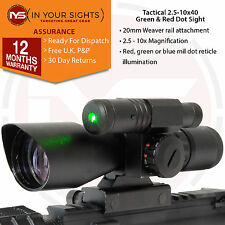 FUCILE o Airsoft 2.5-10x40 CANNOCCHIALE/Green & Red Dot Sight Con Laser Verde