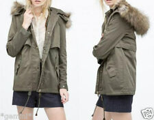 ZARA M / 38 40 2 in 1 MANTEL JACKE PARKA WITH FLEECE LINING LARGE FAUX FUR HOOD