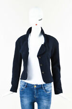 Chanel Navy Blue Wool Silk Rhinestone Embellished Three Button Jacket SZ 36