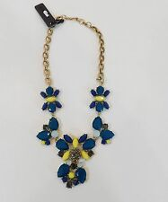 NWT J Crew Statement Floral Necklace Crystal and Blue Yellow Gray Stones  A6536