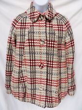 PAUL & JOE Paris Tweed Woven Off White Brown Red Wool Button Coat Jacket 38 M