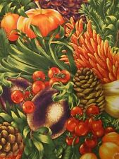 "2 Yards 34"" Bounty of Fruits & Vegetables Fabric w/ Pine Cones Hobby Lobby"