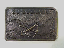 VINTAGE COLORADO MINERS PICK & SHOVEL BELT BUCKLE 1973 JAMES LIND WYOMING STUDIO